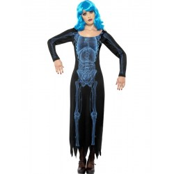 Costume scheletro donna abito nero lungo halloween
