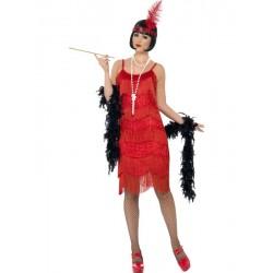 Costume Charleston donna anni 20 vestito rosso con fascia e piuma