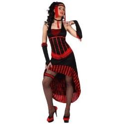 Costume cabaret burlesque donna elegante rosso taglia M/L can can