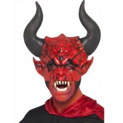 Maschera da diavolo rosso con corna