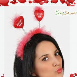 Cerchietto con cuori rossi e piume San Valentino love