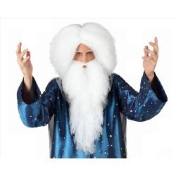 Parrucca e barba lunga bianca da  uomo mago Merlino