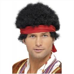 Parrucca riccia nera afro da uomo con bandana anni 70 hippie carnevale