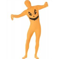 Costume Zucca Halloween tuta elasticizzata seconda pelle taglia S