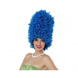 Parrucca blu Marge Simpson cappelli ricci afro alverare accessori carnevale