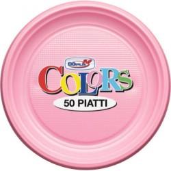 PIATTI FONDI 30 PEZZI ROSA DOPLA IN PLASTICA FESTE E PARTY