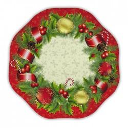 PIATTI CHRISTMAS STYLE  CM 32 IN CARTA 5 PEZZI NATALE CAPODANNO.