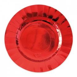 Piatti in carta rosso lucido diam cm 25 addobbo tavola