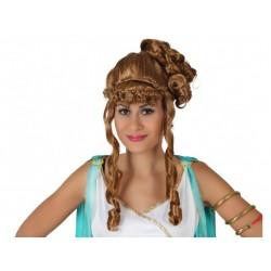 Parrucca castana donna con boccoli
