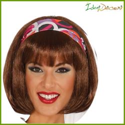Parrucca donna caschetto con frangia liscia capelli castani