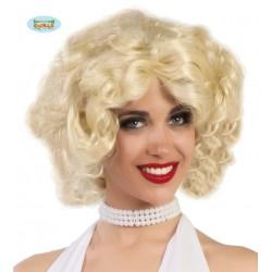 Parrucca bionda capelli mossi da donna Marylin charleston anni 20
