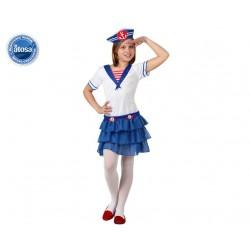 Costume Marinaia bambina taglia 7/9 anni colore bainco e blu