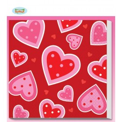 Tovaglioli cuori love in carta conf. 16 pz