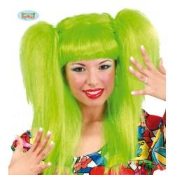 Parrucca con code verde capelli lunghi con frangetta verdi fantasy Guirca
