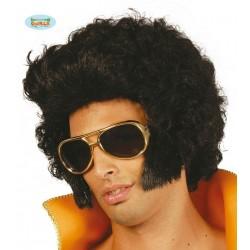 Parrucca Elvis nera con capelli neri mossi e ciuffo anni 70
