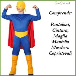 Costume super eroe bambino muscoloso taglia 7/9 anni Atosa