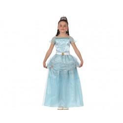 Costume Principessa dei ghiacci bambina azzurro favole carnevale 7/9 anni