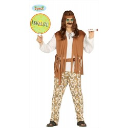 Costume Hippie uomo figli dei fiori anni 60' 70' taglia L travestimento carnevale feste e party