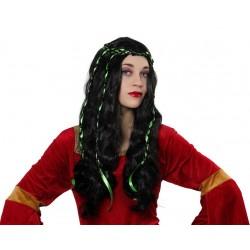 Parrucca medioevale da donna con cappelli lunghi mossi neri