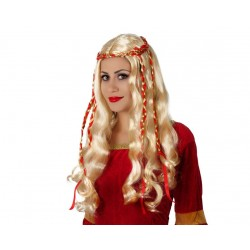 Parrucca medioevale da donna con cappelli lunghi mossi biondi