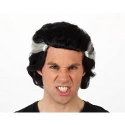 Parrucca vampiro dracula capelli neri e ciuffo bianco Halloween