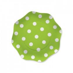 Piatti pois verde mela cm 18 pezzi 10