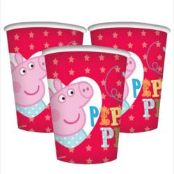 BICCHIERI PEPPA PIG 8 PEZZI FESTE E PARTY
