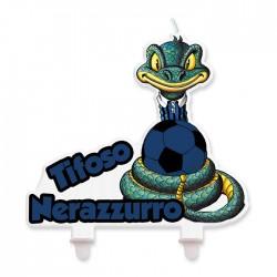Candela Inter tifoso nero azzurro Sibillo cm 12x12