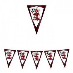Bandierine rosso nero Milan compleanno tiffoso