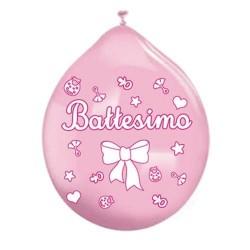 Palloncini battesimo rosa stampati bimba 20 pz