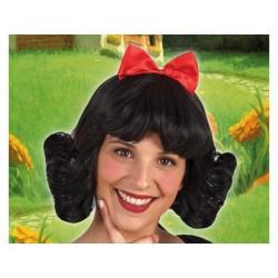 Parrucca biancaneve da donna principessa capelli neri con fiocco rosso Atosa