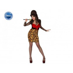 Costume cantante donna pop star sexy rock con gonna leopardato taglia XL Atosa