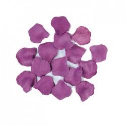 Petali viola in vellutino decorazione tavola