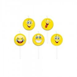 Candeline Emoticons 5 pezzi