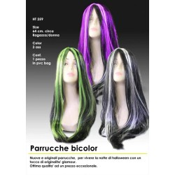 Parrucca nera  bianca nera e viola nera e verde