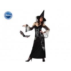 Costume strega donna vestito lungo con cappello Halloween Taglia XL
