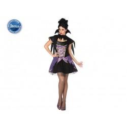 Costume vampiressa donna sexy vampiro taglia XL nero viola