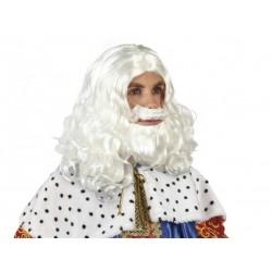 Parrucca bianca Babbo Natale con barba baffi