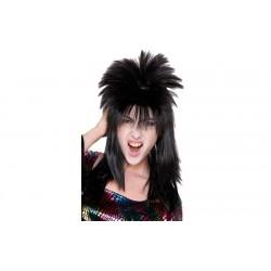 Parrucca punk nera da uomo capelli lunghi neri  anni 80