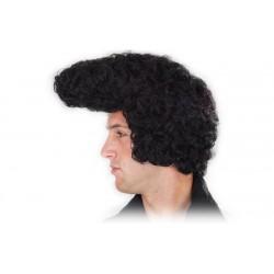 Parrucca Elvis Rock nera con capelli neri mossi anni 70