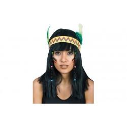 Parrucca Indiana donna liscia con frangia capelli neri fascia  e piume