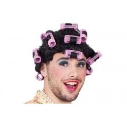 Parrucca Corta con Bigodini capelli neri uomo donna unisex Carnevale