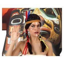 Parrucca indiana con due code lunghe cappelli neri fascia e piuma