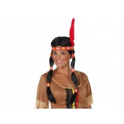 Parrucca Indiana con code lunghe nere fascia e piuma