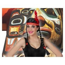 Parrucca indiana con trecce donna capelli neri Atosa