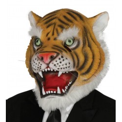 Maschera tigre da uomo in lattice carnevale
