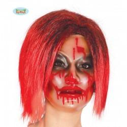 Mascherca trasparene con sangue donna