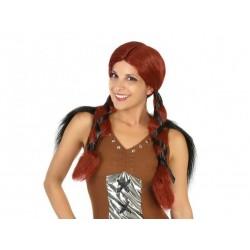 Parrucca vichinga donna capellli colore marrone con code