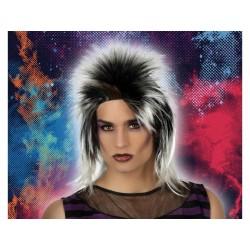 Parrucca con cresta anni 80 punk capelli neri bianchi