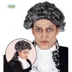 Parrucca marchese grigia capelli bianchi e neri stile barocco